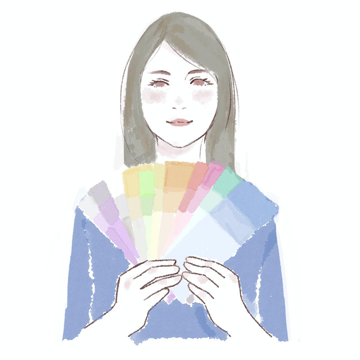 イラスト:カラーサンプルを持った女性